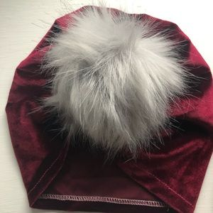 Velvet turban hat with grey Pom Pom